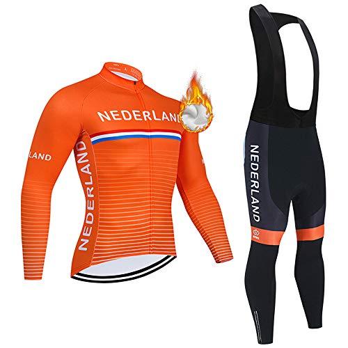 Completo Ciclismo Abbigliamento Set Uomo Inverno Termico Vello Maniche Lunghe Antivento Ciclismo Maglia Lunga e Pantaloni
