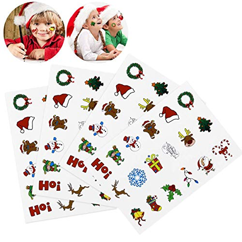 Tinksky Calcomanías temporales de Navidad con dibujos animados desechables, hojas de tatuaje para niños y niños, con 18 patrones surtidos, 72 unidades