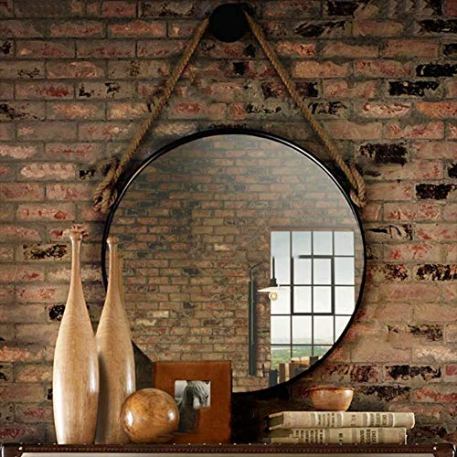 Cylficl Espejo de Pared Modernos con cáñamo Correa for Colgar la Cuerda |Enmarcado Metal Negro |Maquillaje Redonda Espejo de baño decoración de la Pared, 80 cm 31,5 (Size : 40cm)