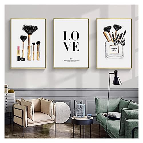 CBYLDDD Tacones en Blanco y Negro Perfume Fashion Lady Maquillaje Imagen de la Pared Moderno Girl Room Decoración de la casa 16x24x3 Sin Marco