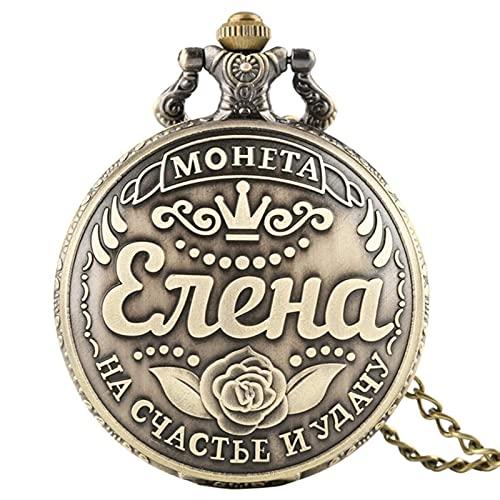 BBNBY Julia Svetlana Elena Name Coin Réplica Rusa Retro Dollar Coins Boutique Collection Reloj de Bolsillo de Cuarzo Antiguo, 1