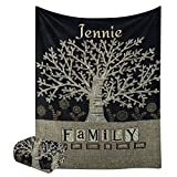 CUXWEOT Custom Blanket with Name Text,Personalized Family Tree Super Soft Fleece Throw Blanket for Couch Sofa Bed (60 X 80 inches)
