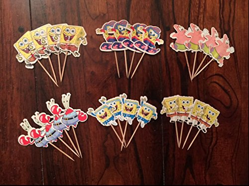 Spongebob Squarepants Cupcake Toppers Spongebob Party Supplies SET OF 24