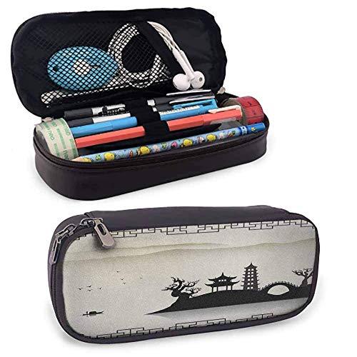 Alte China PU Leder kleine Bleistift Tasche trostlose Skizze Haus auf Hügel Pagode Pavillon Brücke getrocknete Bäume Fischer Reißverschlusstasche für Stifte, Bleistifte