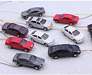 szzijia Painted Head Light Model Car 1:100 Scale HO Gauge for Building Train Layout (Pack of 5)