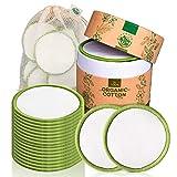 Coton démaquillant lavable Greenzla (lot de 20) avec sac à linge lavable et boite ronde pour le stockage |...