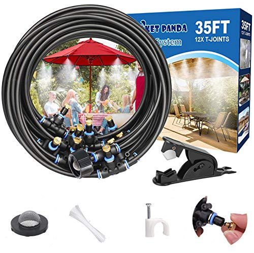 Misting Cooling System for Outside Patio, 35FT Mist Hose+12 Water Mister Nozzles. Outdoor Misters for Patio. Misting Systems for Garden, Porch, Deck, Fan, Umeralla, Canopy, Backyard, Waterpark