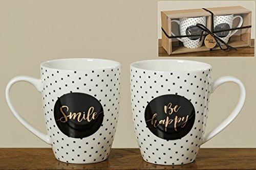 Bloominghome Tasse mit Henkel 370ml Porzellan Smile Be Happy 2er-Set Geschenkverpackung hochwertiges Porzellan