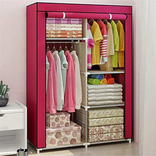 Closet Storage Closet Clothes Portable DIY Closet Organizer für Schlafzimmer Schrank Kleiderschrank Kleidung Lagerung Organizer mit hängenden Rod & Cube Storage Wardrobe Closet Organizer Shelf Wardrob
