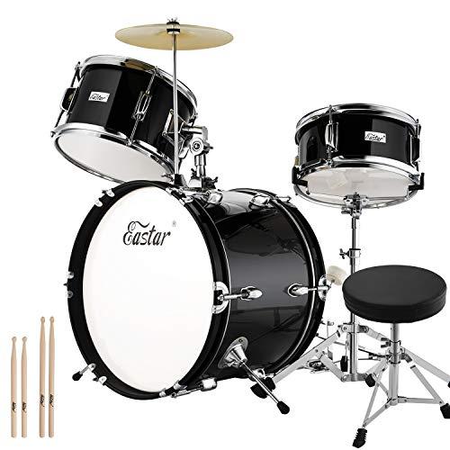 Eastar 3-Teile Junior Schlagzeug Kinder Komplett Set 16 Zoll/40.6 cm EDS-285Re mit Thron, Becken, Pedal und Drumsticks, Spiegel Schwarz