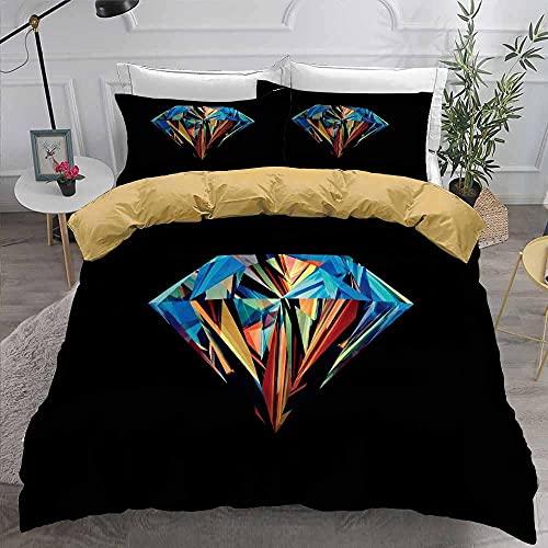 OTNYHBJ Funda de edredón Fundas de Almohada Diamante Rojo Azul Amarillo Negro 200x200 cm Juego de Cama Ropa de Cama Juego de edredón Cubierta 2 Fundas de Almohada