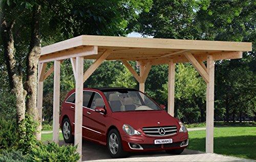 Carport Halesia H18 naturbelassen - 120 x 120 mm Pfostenstärke, Grundfläche: 18,40 m², Flachdach