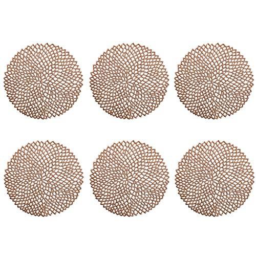 Zeller Lot de 6 Sets de Table Ronds en PVC Cuivré