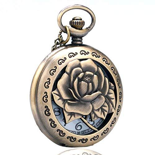 J-Love Collar Rosas 3D para Mujer, Regalos para Novias, Huecos, Vivos, Grabados con Flores, Enfermera, Reloj Bolsillo Cuarzo, Cadena Colgante Antigua