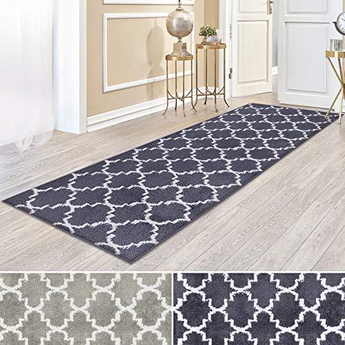 Kurzflor Teppich Läufer MARRAKESCH mit marokkanischem Muster | Meterware | rutschfester Latex-Rücken | Teppichläufer für Wohnzimmer, Küche, Flur, Schlafzimmer | 2 Farben (schwarz, 100x200 cm)
