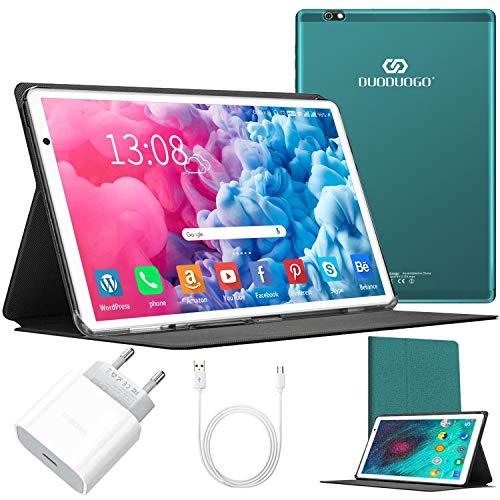 Tablet 10 Zoll Android 10 64 GB (720p/1080p Full HD-Display) - 4GB ram 4G Dual-SIM/SD, Tablets Quad Core, Type C, 5MP+8MP Kamera, Große 8000mAh Akku Bluetooth WiFi Dünne und leichte Tablet PC (Grün)