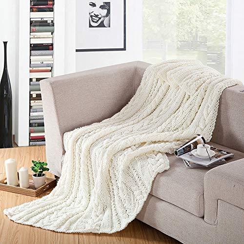 HYwot Handgestrickte Decke, Stricken Decke Sofa Decke Dicke Decke, Überwürfe Für Sofas, Bettwäsche, Sofa Supplies,White