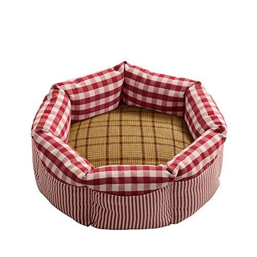 thematys Katzenbett I Katzen-Korb im Karo-Muster I Hochwertiger Haustier-Schlafplatz mit herausnehmbarem Kissen I Weich und Kratzfest (Style 1, L)