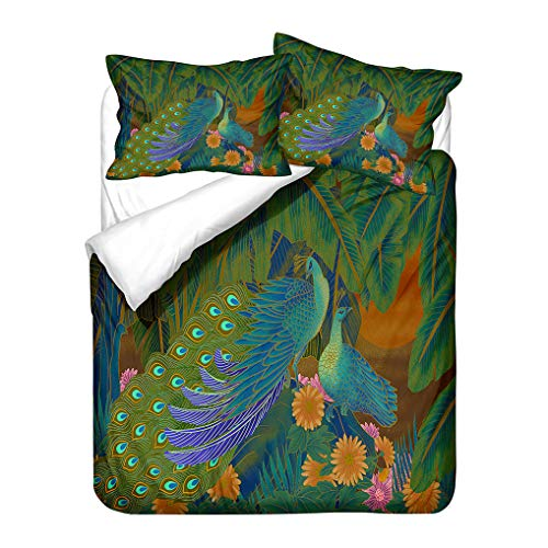 3D Animals Duvet Cover Peacock Green Bedding set Nation Floral Feather Duvet Cover With Zipper (Style 4, Single 135x200 cm)