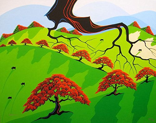 """Leos Coffers Wall Art by Larissa Holt Fall Fields"""" Hand Signed Giclee Print. After The Original Painting or Drawing. On Canvas Eyvind Earle Protege Measures 21.5 Inches X 27 Inches"""