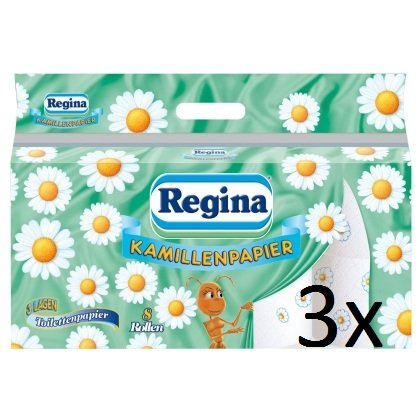 Regina Kamillenpapier 3x 8 Rollen à 150 Blatt 3-lagiges Toilettenpapier, aus 100 % reinem Frischzellstoff mit Kamillenduft 3600 Blatt