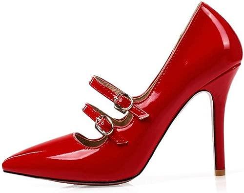 TYXWF Frauen-reizvolle Pumpen PU-Absatzschuhe,rot,34