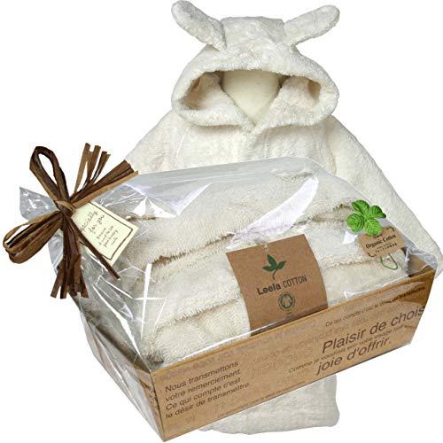 出産祝いにオーガニックコットン ベビーバスローブ ナチュラル(出産祝いギフト包装) (74/80(80cm))
