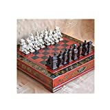 DYFYF Guerreros de Terracota Chinos Antiguos 32 Juego de ajedrez Mesa de Madera Juegos de ajedrez Regalo