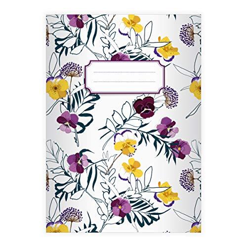 16 fijne bloemen DIN A4 schoolschrift, schrijfschrift met laarsjes, witte liniatuur 20 (blanco boekje 16 vellen/32 paginas) notitieboekje, kladje voor school, universiteit, kantoor