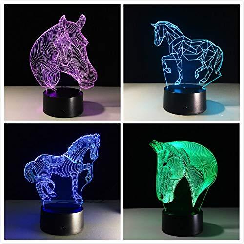 Horse Night Light Novedad Regalo Color Cambio Animal lámpara de Mesa como decoración del hogar Mayor