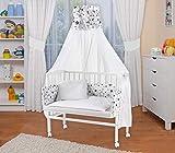 WALDIN Lit cododo berceau tout équipé pour bébé,bois blanc laqué,16 modèles disponibles,Surface de couchage extra large : L 90 x l 55,couleur du textile blanc/astre gris-blanc