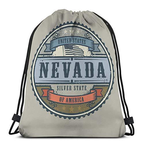 Jiuerlius3 Classic Drawstring Bag Sport Storage Bag Vintage Stamp Label Text United States America Nevada Vintage Stamp Text United States