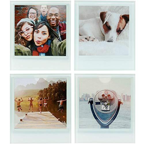 Wahou 38-2Q-018 Dessous de Verres Personnalisables Photo 8x8cm Insta Pola Set de 4 Blanc et Transparent Verre H0,8 x 9,5 x 11 cm