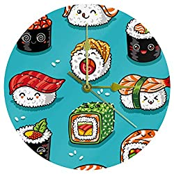 Anmarco Acrylic Wall Clock Blue Sushi Japan 9.8 Inch Silent Non Ticking Quartz Battery Operated Unscaled Round Wall Clocks Decorative for Home Office School