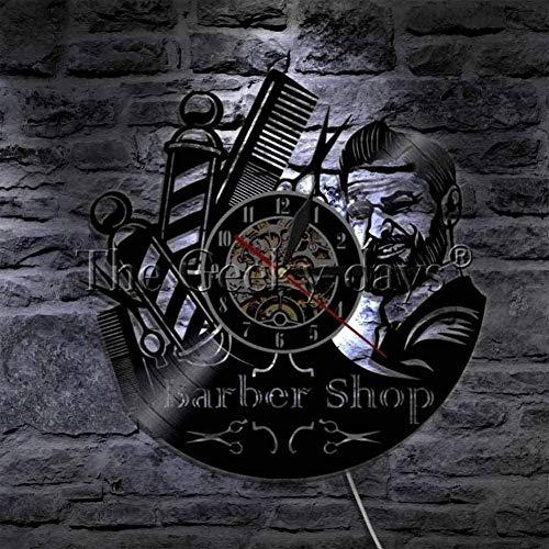 ZYBBYW 1 barbero Reloj de Pared barbería Reloj de Pared Vinilo Reloj de Pared Reloj Antiguo Ventilador Regalo de barbero