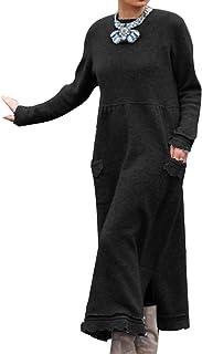 Onsoyour Mujer Vestido De Gran Tamaño Vestido Largo Suelto Túnica De Manga Larga Bolsillos Casuales, Sólido Maxi Vestido D...