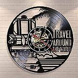 GVC Voyage Autour du Monde Vacances Tourisme Horloge Murale Voyage griffonnages Disque Vinyle Horloge Murale Voyage planificateur décoratif Montre Murale