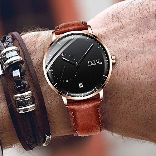XXTT Herrenuhr Slim - Quartz Luxury Sub Dial Brown Lederarmband - Klassisches Design Casual Dress Watch wasserdichte Armbanduhr mit Edelstahlgehäuse,Gold