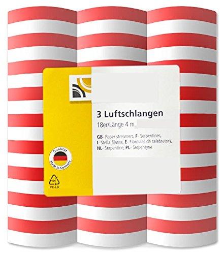 12 x Luftschlangen-Rollen Luftschlange Rot Weiß USA Karneval Köln 4 m Party Deko
