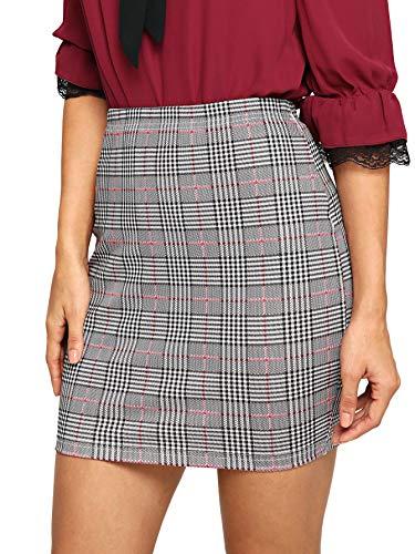SheIn Women's Basic Stretch Plaid Mini Bodycon Pencil Skirt Large #Grey#2