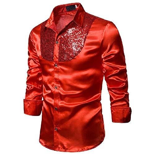 OKJI Mannen Pailletten Jurk Shirts Lange Mouw Satijn Glanzende Disco Feestshirt Mannen Stage Dans Mannen top Stag Nachtclub Prom Kostuum