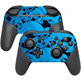 MightySkins Skin Compatible with Nintendo Switch Pro Controller - Blue Skulls | Protective, Durable, and Unique Vinyl Decal wrap Cover | Easy to Apply, Remove, and Change Styles | Made in The USA