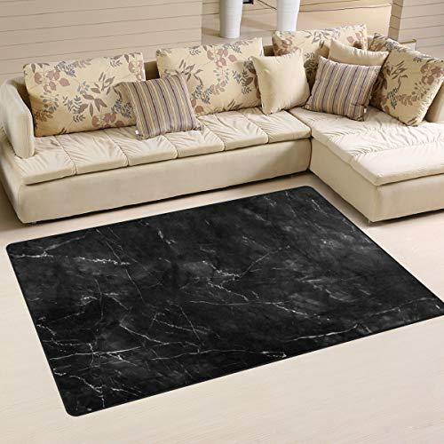 Use7 Tapis de sol antidérapant noir effet marbre pour salon, chambre à coucher, 100 x 150 cm