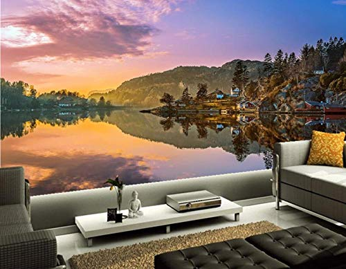 ZJfong Aangepaste Noorwegen Lake Mountains Landschap Natuur Fotobehang Woonkamer TV Sofa Muur Slaapkamer muurschilderingen 300 x 200 cm.