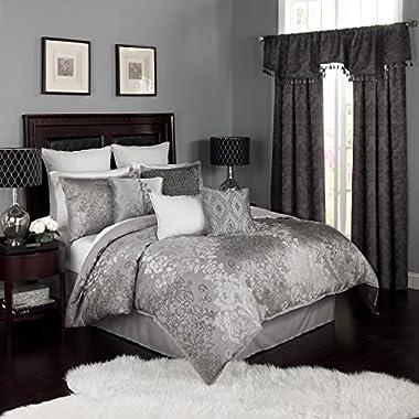 Beautyrest 16322BEDDQUEPWT Chacenay Comforter Set, Queen, Pewter
