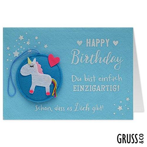 Grußkarte Filz - Einhorn - Geburtstagskarte - 18