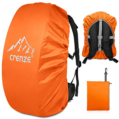 Crenze Backpack Rain Cover, 15-90L Waterproof Rucksack Cover with Reflective for Hiking Camping Traveling Cycling