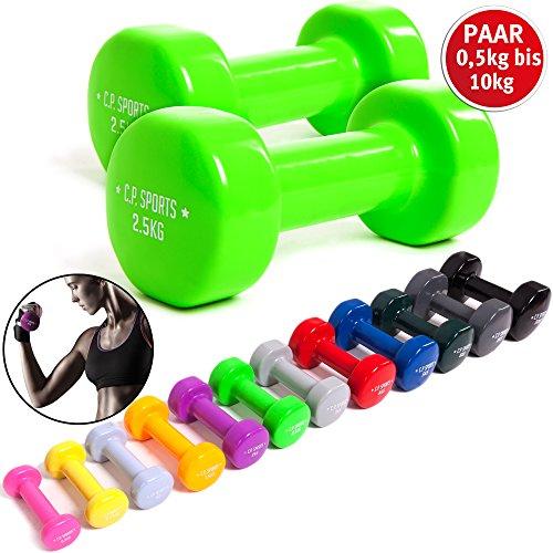 C.P. Sports slipvaste gymnastiekhalters 0,5 kg - 0,75 kg - 1,0 kg - 1,5 kg - 2,0 kg - 2,5 kg - 3,0 kg - 4,0 kg - 5,0 kg - 6,0 kg - 8,0 kg - 10,0 kg - paar dumbbells, vinyl halters, gewichten, fitness
