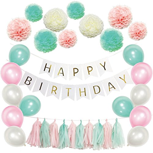 LECMARK 51 Pcs Birthday Party Supplies Kit - Mint Green, Pink and Cream Happy Birthday Banner with Fluffy Tissue Paper Pom Poms, Tassel Garland and Colorful Balloons (Mint Green)