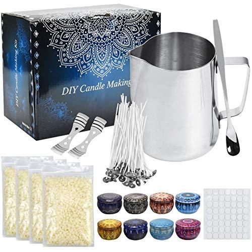 AvoDovA Kit de fabricación de velas, Kit de Fabricación de Cera para Principiantes, Kit para Hacer Velas, Accesorios para Hacer Velas de Bricolaje, Regalo para Velas perfumadas, Mecha, portamechas